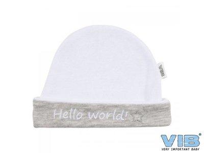 VIB mutsje Hello World grijs-wit