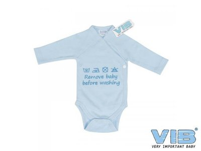 VIB Romper Remove Baby Before Washing Blauw