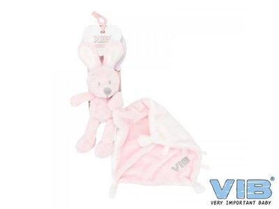 VIB Pluche konijn houdt doekje vast roze